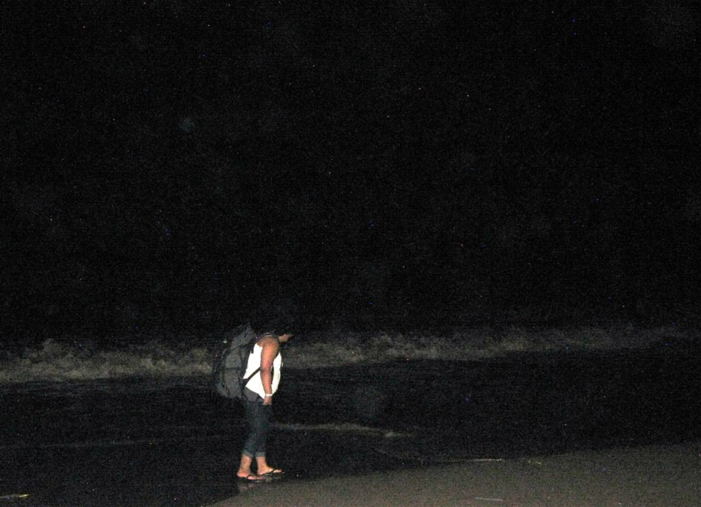 On the Beach At Night Alone - image from Adventures of a Tiny Lady
