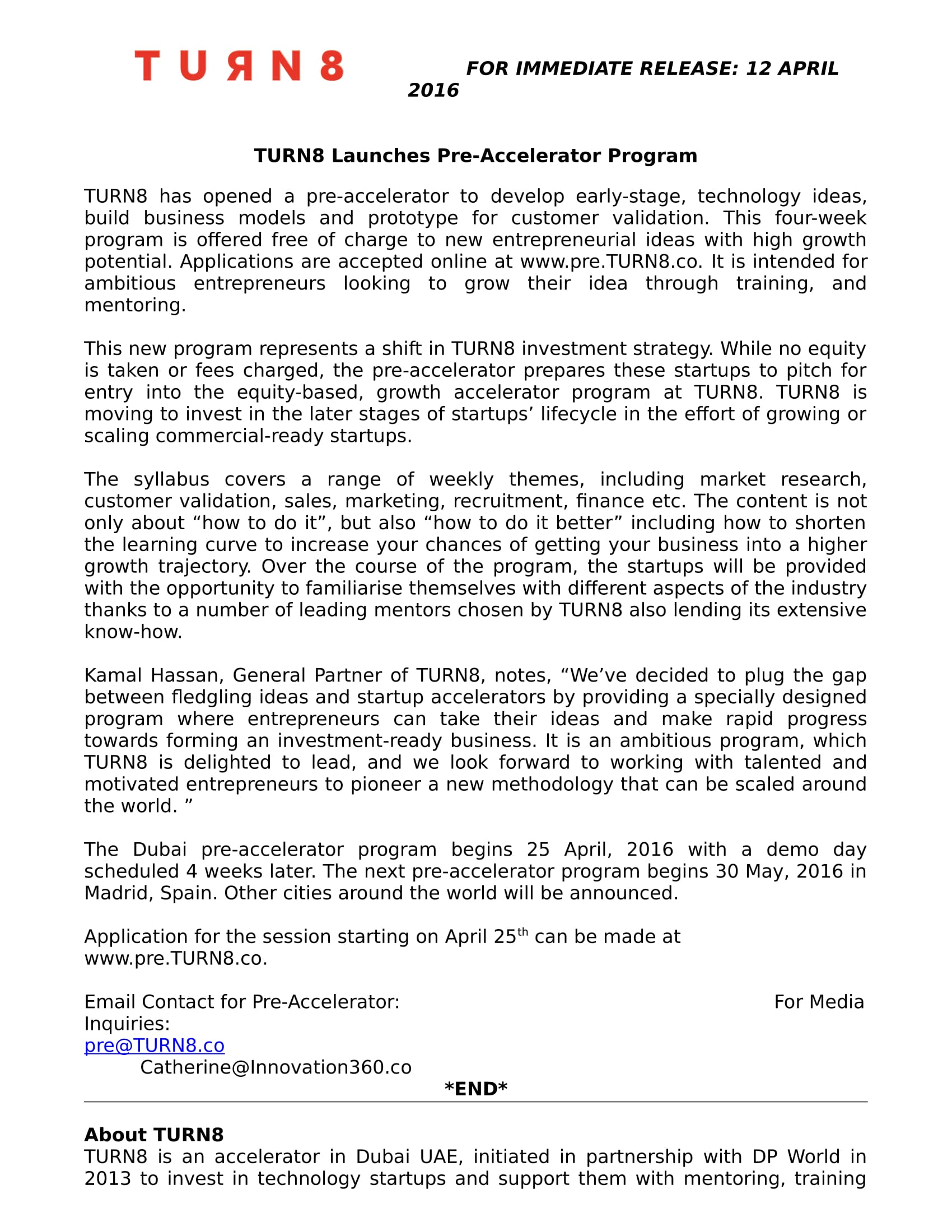 TURN8PreAccelerator_LAUNCH_Press Release-1